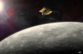 This artist's rendering provided by NASA shows the MErcury Surface, Space ENvironment, GEochemistry, and Ranging (MESSENGER) spacecraft, which is expected to crash on Mercury at month's end. around Mercury.