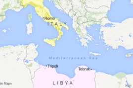 Map of Italy and Libya