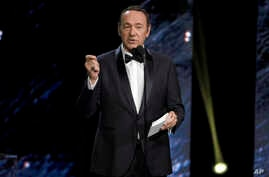 FILE - Kevin Spacey is seen speaking at an award ceremony at the Beverly Hilton Hotel in Beverly Hills, California, Oct. 27, 2017.