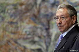 Cuba's President Raul Castro attends a ceremony at the Palace of the Revolution in Havana, Cuba, May 19, 2015.