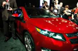 The Chevrolet Volt is named North American Car of the Year at the North American International Auto Show in Detroit, Michigan on Jan. 10, 2011.