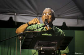 David Granger, leader of Guyana's opposition A Partnership for National Unity (APNU) coalition, speaks during a rally in Georgetown. Nov. 14, 2014.