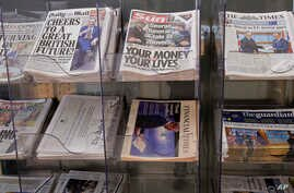 A selection of British national newspapers on sale at newsagents in London, Thursday, March 30, 2017.