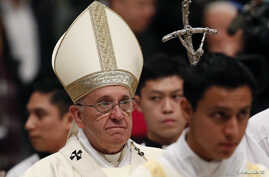 Pope Francis celebrates a mass for the Virgin of Guadalupe in Saint Peter's Basilica at the Vatican, Dec. 12, 2014.