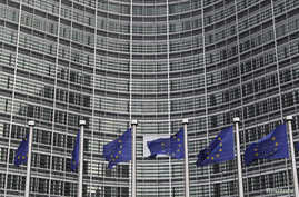 European Union flags are seen outside the European Commission headquarters in Brussels in this October 27, 2010, file photo.