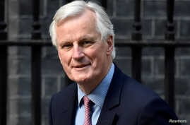 European Chief Negotiator for Brexit Michel Barnier arrives at Downing Street in London, Britain, April 26, 2017.