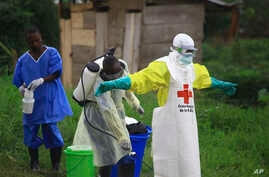 FILE - In this photo taken Sept 9, 2018, a health worker sprays disinfectant on his colleague after working at an Ebola treatment center in Beni, DRC.