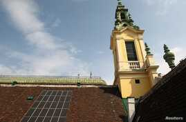 Solar panels are pictured on the roof of the Protestant Reformed Church in Vienna, April 9, 2013.