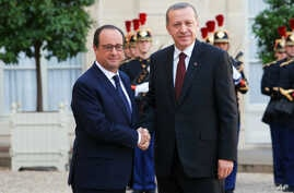 French President Francois Hollande (l) welcomes Turkish President Recep Tayyip Erdogan at the Elysee Palace in Paris, Oct.31, 2014.