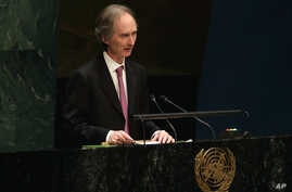 FILE - Norway's Ambassador Geir O. Pederson addresses the United Nations General Assembly.
