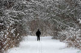 Joe Scharpf cross country skis on a trail after a fresh snowfall, Dec. 28, 2017, in Moreland Hills, Ohio.