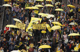 Protesters carrying yellow umbrellas, the symbol of the Occupy movement, march on a street in Hong Kong, Feb. 1, 2015.