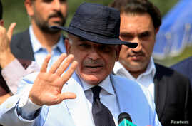 Shahbaz Sharif, chief minister of Punjab Province and brother of Pakistan's former Prime Minister Nawaz Sharif, gestures after appearing before a Joint Investigation Team in Islamabad, Pakistan, June 17, 2017.