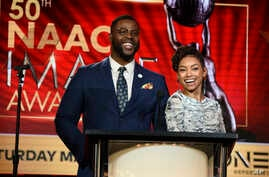 Winston Duke (L) and Logan Browning announce nominations for the 50th annual NAACP Image Awards during TV One's Winter Television Critics Association Press Tour on Feb. 13, 2019, in Pasadena, Calif.
