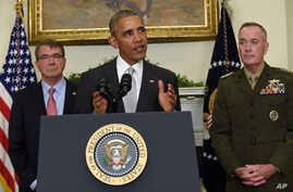 President Barack Obama, flanked by Defense Secretary Ash Carter, left, and Joint Chiefs Chairman Gen. Joseph Dunford, makes a statement on Afghanistan from the Roosevelt Room of the White House in Washington, July 6, 2016.