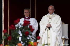 Pope Francis leads the mass for the canonization in Saint Peter's Square at the Vatican, Oct. 18, 2015.