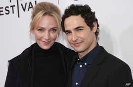"""Actress Uma Thurman, left, and Fashion Designer Zac Posen attend a screening of """"House of Z"""" at the SVA Theatre during the 2017 Tribeca Film Festival, April 22, 2017, in New York."""
