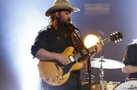 "Musician Chris Stapleton performs ""Second One To Know"" at the 52nd Academy of Country Music Awards in Las Vegas, Nevada, Feb. 4, 2017."