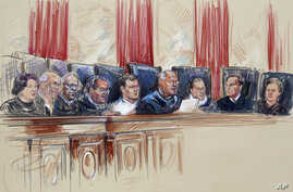 An artist rendering shows Supreme Court Justices from left, Sonia Sotomayor, Stephen Breyer, Clarence Thomas, Antonin Scalia, Chief Justice John Roberts, Anthony Kennedy, Ruth Bader Ginsburg, Samuel A. Alito, and Elena Kagan inside Supreme Court in W