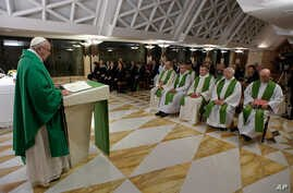Pope Francis celebrates Mass in the chapel of Santa Marta, at the Vatican, Thursday, Oct. 20, 2016.