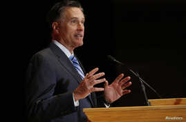 Former Republican U.S. presidential nominee Mitt Romney speaks critically about current Republican presidential candidate Donald Trump and the state of the 2016 Republican presidential campaign during a speech at the Hinckley Institute of Politics at