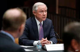 Attorney General Jeff Sessions speaks before a meeting of the Organized Crime Council and other officials to discuss implementation of a presidential executive order on organized crime at the Department of Justice in Washington, April 18, 2017.