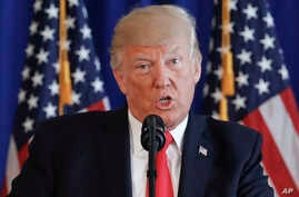 President Donald Trump speaks regarding the on going situation in Charlottesville, Va., at Trump National Golf Club in Bedminster, N.J., Aug. 12, 2017.