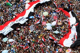 Supporters of Muslim Brotherhood's presidential candidate Mohamed Morsy stand under giant Egyptian flags during a demonstration against the delay of the Egyptian presidential results and the Supreme Council for the Armed Forces (SCAF) at Tahrir Squar