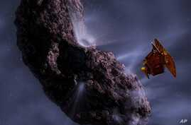 This rendering by artist Pat Rawlings, released by NASA, shows the Deep Impact spacecraft's projected encounter with comet Tempel 1.