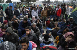 Migrants queue to receive travel papers near the Greek-Macedonian border, near the village of Idomeni, Greece, March 2, 2016.