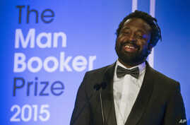 """Marlon James, author of """"A Brief History of Severn Killings,"""" speaks after being named winner of the Man Booker Prize for Fiction 2015, in London, Oct. 13, 2015."""