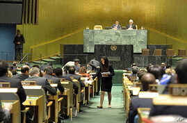 A U.N. conference officer distributes ballots to delegations as the UN General Assembly prepares to elect five new non-permanent members of the UN Security Council, Oct 18, 2012.