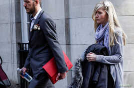 Chris Gard and Connie Yates, who are battling to take their baby Charlie to the US for treatment against advice from doctors that he should be taken off life support, arrive at The High Court in London, Britain, April 5, 2017.