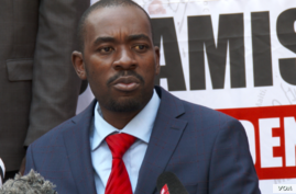 Nelson Chamisa, the leader of the Movement for Democratic Change Alliance, listens ad a journalist asks a question, Aug. 4, 2108 in Harare.
