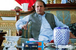 Nawaz Sharif, the leader of Pakistan Muslim League - Nawaz (PML-N), speaks to foreign reporters at his residence in Lahore, May 13, 2013.