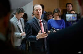 Rep. Adam Schiff, D-Calif., ranking member of the House Intelligence Committee, speaks to reporters on Capitol Hill in Washington, March 30, 2017, about the actions of Committee Chairman Rep. Devin Nunes, R-Calif., as the panel continues to investiga