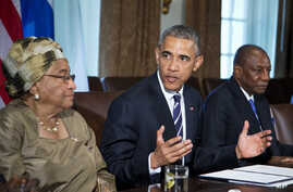 President Barack Obama, flanked by Liberian President Ellen Johnson Sirleaf, left, and Guinean President Alpha Condé, speaks in the Cabinet Room of the White House in Washington, April 15, 2015, to discuss the progress made in the international Ebola