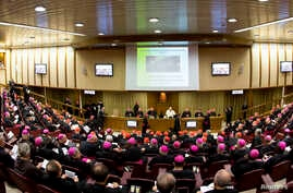 Pope Francis leads the synod of bishops in Paul VI's hall at the Vatican, Oct. 6, 2014.