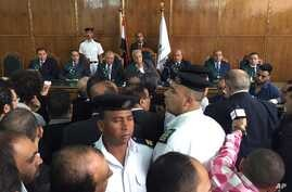 Chief government lawyer, Rafiq Omar, center, at an appeals court hearing in Cairo, Egypt.  Egypt's government on Sunday defended its decision to hand over two Red Sea islands to Saudi Arabia at after the move was struck down by a lower court last wee