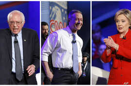 From left, Senator Bernie Sanders, former Maryland Governor Martin O'Malley and former Secretary of State Hillary Clinton speak during a CNN town hall at Drake University in Des Moines, Iowa, Jan. 25, 2016.