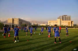 Iran's national men's football team take part in a training session a day before their Group A match against Syria during the 2018 FIFA World Cup Russia Qualifier, in Tehran, Iran, Sept. 4, 2017.