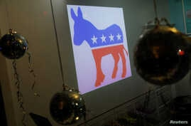 FILE - A Democratic Party donkey icon is seen in a shop in Asbury Park, N.J.