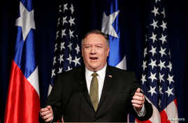 U.S. Secretary of State Mike Pompeo delivers a speech during his visit to Santiago, Chile, April 12, 2019.