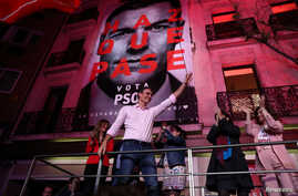 Spain's Prime Minister Pedro Sanchez of the Socialist Workers' Party (PSOE) reacts while celebrating the result in Spain's general election in Madrid, Spain, April 28, 2019.