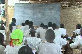 Schoolchildren are taught in makeshift classroom in Maroua, Cameroon, April 15, 2019.