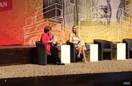 Ivanka Trump's final stop in Africa was in Abidjan, where she spoke at a summit of female entrepreneurs. (E. Sarai/VOA)