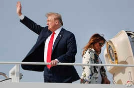 President Donald Trump and first lady Melania Trump board Air Force One, April 18, 2019, at Andrews Air Force Base, Md.