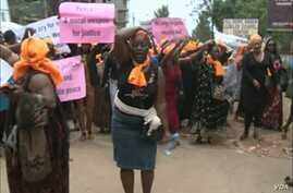 Women demand an end to violence and push the government to organize an all-inclusive dialogue with the warring sides, in Bamenda, Cameroon, May 10, 2019.