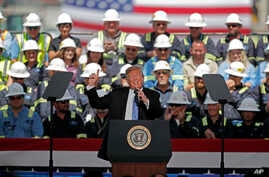 President Donald Trump speaks on energy infrastructure at the Cameron LNG Export Terminal in Hackberry, La., May 14, 2019.