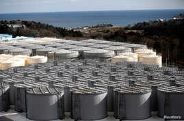Storage tanks for radioactive water are seen at Tokyo Electric Power Co's (TEPCO) tsunami-crippled Fukushima Daiichi nuclear power plant in Okuma town, Fukushima prefecture, Japan, Feb. 18, 2019.